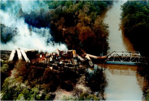A train derailment near Milligan, Florida. The train carried chemicals, which were spilled at the site. (©Bettmann/Corbis. Reproduced by permission.)