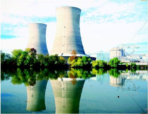 Two cooling towers at the Three Mile Island nuclear plant. (©W. Cody/Corbis. Reproduced by permission.)