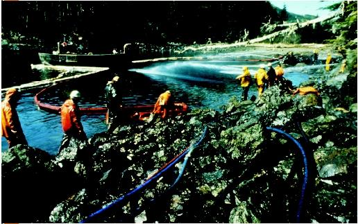 Workers in orange coats standing on rocky beach using water hoses to clean up the oil spill from the Exxon Valdez. (Courtesy of Richard Stapleton. Reproduced by permission.)