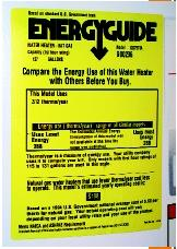 The EnergyGuide label that is affixed to new appliances sold in the United States. (© 2003, Kelly A. Quin. Reproduced by permission.)