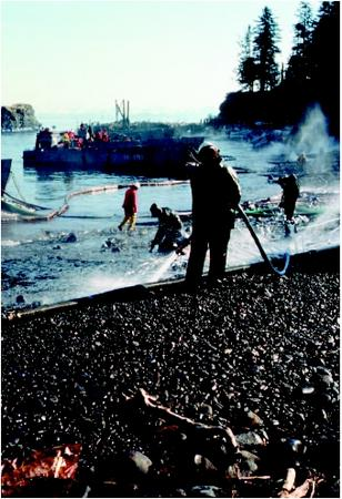 Workers using water hoses to clean oil from a beach following a spill. (United States Environmental Protection Agency. Reproduced by permission.)