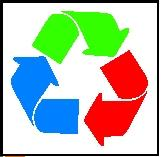 The recycle symbol.