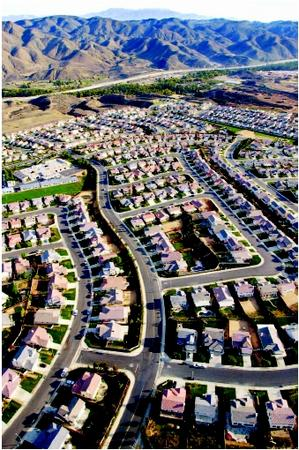 A sprawling neighborhood in Corona, California. (AP/Wide World Photos. Reproduced by permission.)