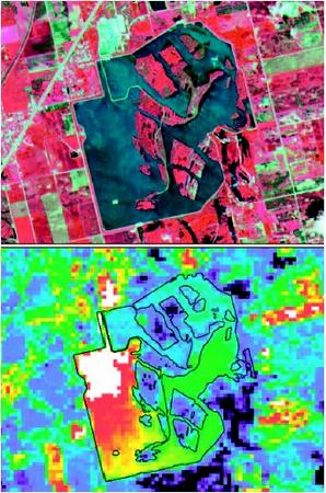 These ASTER false-color images were acquired over Joliet 29, a coal-burning power plant in Illinois. Joliet 29 can be seen in the VNIR image (top) as the bright blue-white pixels just above the large cooling pond. Like many power plants, Joliet 29 uses a cooling pond to discharge heated effluent water. In the bottom image a single ASTER Thermal Infrared band was color-coded to represent heat emitted from the surface. The progression from warmest to coolest is shown with the following colors: white, red, orange, yellow, green, blue, and black. (Image courtesy NASA/GSFC/MITI/ERSDAC/JAROS, and U.S./Japan Aster Science Team. Reproduced by permission.)