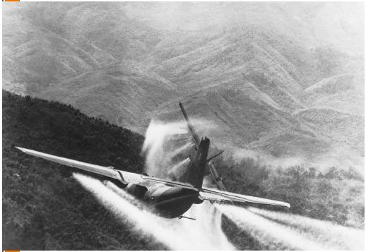 A U.S. Air Force jet spraying Agent Orange along the Cambodian border during the Vietnam War. Bettmann/Corbis. Reproduced by permission.)