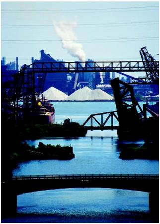 Steel mills in Indiana along the southern coast of Lake Michigan. (©Joel W. Rogers/Corbis. Reproduced by permission.)